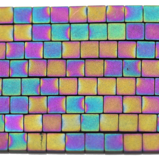Multi Iris Coated Hematine Square (2-Hole) 4mm  - 16 inches
