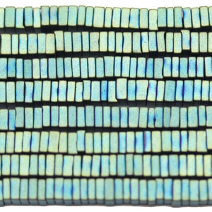 Matt Aqua Iris Coated Hematine Square Rondell 1x3mm  - 16 inchesBeads by Halcraft Collection