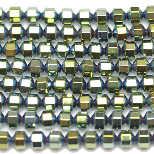 Green Iris Coated Hematine Octagon 4mm  - 16 inchesBeads by Halcraft Collection