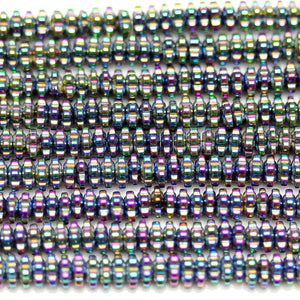 Multi Iris Coated Hematine Dot Rondell 1.5x3mm  - 15 inchesBeads by Halcraft Collection
