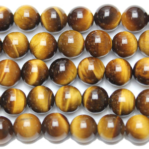 Tiger Eye Stone (A Grade) Round 10mm  - 15 inches