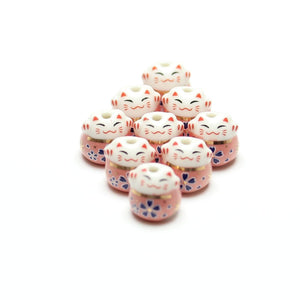 Bead, Beads, Ceramic, Ceramic Bead, Ceramic Beads, Clay, Fetish, Hand Made, Hand Painted, Porcelain, Porcelain Bead, Porcelain Beads, Artisan, Big Hole, Big Hole Beads, Fat Cat, Fat Cat Bead, Fat Cat Beads, Cat, Pink, White, Gold, 14mm