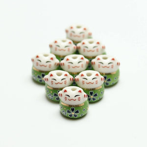 Handmade Ceramic Fat Cat 14mm  Green & White with Gold Accents