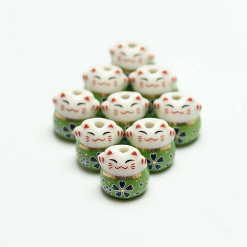 Bead, Beads, Ceramic, Ceramic Bead, Ceramic Beads, Clay, Fetish, Hand Made, Hand Painted, Porcelain, Porcelain Bead, Porcelain Beads, Artisan, Big Hole, Big Hole Beads, Fat Cat, Fat Cat Bead, Fat Cat Beads, Cat, Green, White, Gold, 14mm