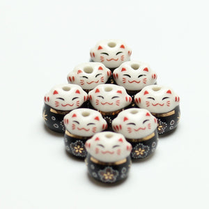 Bead, Beads, Ceramic, Ceramic Bead, Ceramic Beads, Clay, Fetish, Hand Made, Hand Painted, Porcelain, Porcelain Bead, Porcelain Beads, Artisan, Big Hole, Big Hole Beads, Fat Cat, Fat Cat Bead, Fat Cat Beads, Cat, Black, White, Gold, 14mm