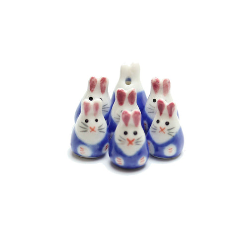 Bead, Beads, Ceramic, Ceramic Bead, Ceramic Beads, Clay, Fetish, Hand Made, Hand Painted, Porcelain, Porcelain Bead, Porcelain Beads, Artisan, Big Hole, Big Hole Beads, Bunny Rabbit, Bunny Rabbit Bead, Bunny Rabbit Beads, Rabbit, Blue, White, 14x23mm, 14mm, 23mm