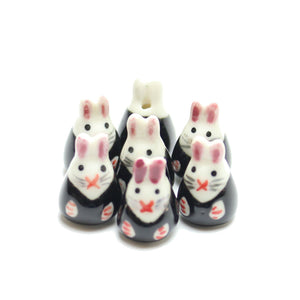 Bead, Beads, Ceramic, Ceramic Bead, Ceramic Beads, Clay, Fetish, Hand Made, Hand Painted, Porcelain, Porcelain Bead, Porcelain Beads, Artisan, Big Hole, Big Hole Beads, Bunny Rabbit, Bunny Rabbit Bead, Bunny Rabbit Beads, Rabbit, Black, Pink, White, 14x23mm, 14mm, 23mm