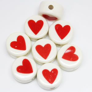 Bead, Beads, Ceramic, Ceramic Bead, Ceramic Beads, Clay, Fetish, Hand Made, Hand Painted, Porcelain, Porcelain Bead, Porcelain Beads, Artisan, Big Hole, Big Hole Beads, Heart, Heart Bead, Heart Beads, Red, White, 16mm