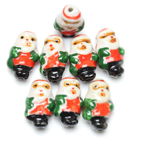Bead, Beads, Ceramic, Ceramic Bead, Ceramic Beads, Clay, Fetish, Hand Made, Hand Painted, Porcelain, Porcelain Bead, Porcelain Beads, Artisan, Big Hole, Big Hole Beads, Santa Claus, Santa Claus Bead, Santa Claus Beads, Red, Green, Black, White, 14x24mm, 14mm, 24mm