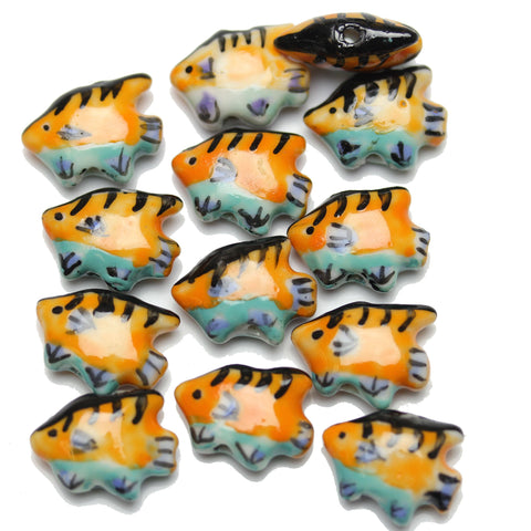 Bead, Beads, Ceramic, Ceramic Bead, Ceramic Beads, Clay, Fetish, Hand Made, Hand Painted, Porcelain, Porcelain Bead, Porcelain Beads, Artisan, Big Hole, Big Hole Beads, Fish, Fish Bead, Fish Beads, Orange, Light Blue, Blue, 13x16mm, 13mm, 16mm