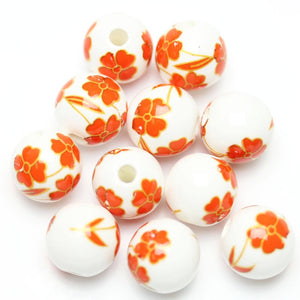 Bead, Beads, Ceramic, Ceramic Bead, Ceramic Beads, Clay, Fetish, Hand Made, Hand Painted, Porcelain, Porcelain Bead, Porcelain Beads, Artisan, Big Hole, Big Hole Beads, Round, Orange Flower, Round Bead, Round Beads, Orange Flower Bead, Flower, White, Orange, 12mm