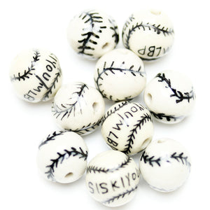 Bead, Beads, Ceramic, Ceramic Bead, Ceramic Beads, Clay, Fetish, Hand Made, Hand Painted, Porcelain, Porcelain Bead, Porcelain Beads, Artisan, Big Hole, Big Hole Beads, Round, Baseball, Round Bead, Round Beads, Baseball Bead,, White, Black, 14mm