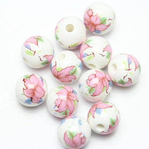 Handmade Ceramic White Round 12mm  Bead with Pink Flower