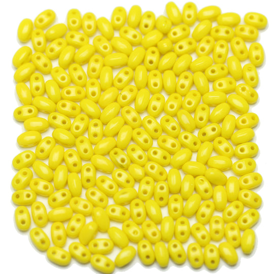 Yellow Opaque Czech Twin GB Duo 2 Hole Pressed Glass Oval 2.5x5mm Beads by Halcraft Collection