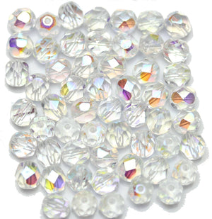 Crystal AB Czech Glass Fire Polished Faceted Round 7mm