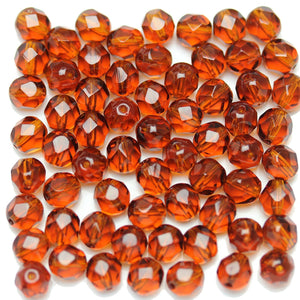 Beads, Bead, Glass, Glass Beads, Glass Bead, Faceted, Fire Polished, Fire Polished Bead, Fire Polished Beads, Round, Round Beads, Round Bead, Czech, Czech Bead, Czech Beads, Amber, 7mm
