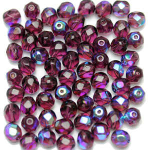 Purple AB Czech Glass Fire Polished Faceted Round 7mm