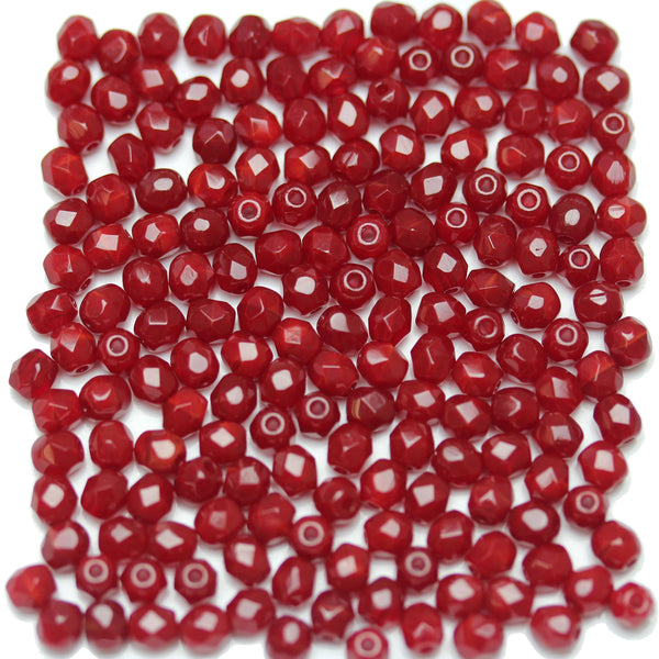 Dark Red Opaque Luster Coated Czech Glass Fire Polished Faceted Round 4mm