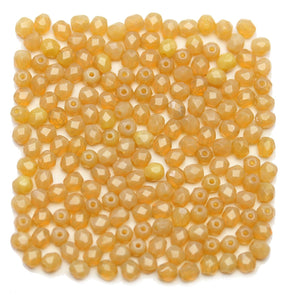 Honey Amber Opal Translucent Czech Glass Fire Polished Faceted Round 4mmBeads by Halcraft Collection