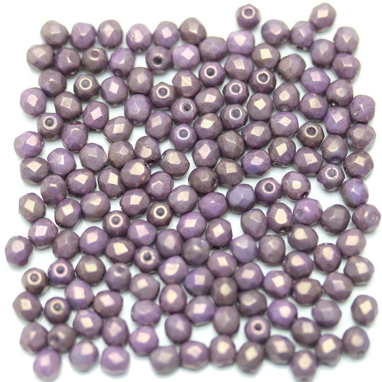 Purple Luster Coated Czech Glass Fire Polished Faceted Round 4mm