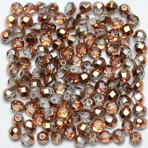 Crystal with Rose Gold Coating Czech Glass Fire Polished Faceted Round 5mm