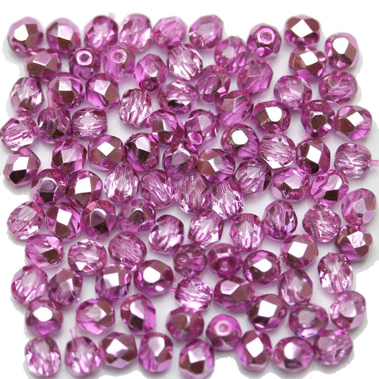 Crystal with Purple Metallic Coating Czech Glass Fire Polished Faceted Round 5mm