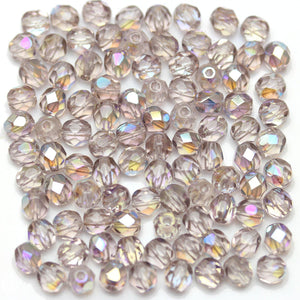 Light Amethyst Transparent AB Czech Glass Fire Polished Faceted Round 5mm