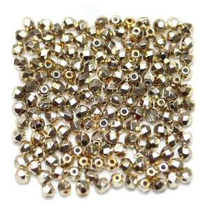 Light Gold Czech Glass Fire Polished Faceted Round 3mm