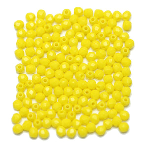 Yellow Czech Glass Fire Polished Faceted Round 3mm