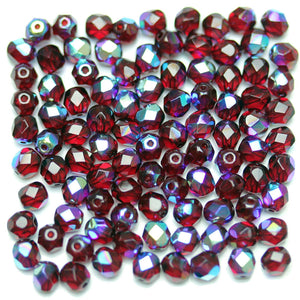 Siam Transparent AB Czech Glass Fire Polished Faceted Round 5mm