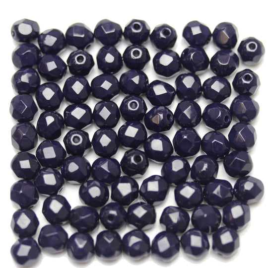 Midnight Blue Opaque Czech Glass Fire Polished Faceted Round 6mm