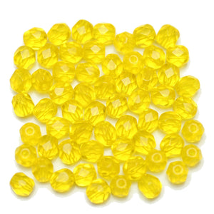 Yellow Transparent Czech Glass Fire Polished Faceted Round 6mm