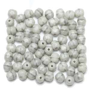 Grey Stripe Opaque Czech Glass Fire Polished Faceted Round 6mm