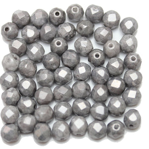 Silver Travertine Coated Czech Glass Fire Polished Faceted Round 6mm Beads by Halcraft Collection