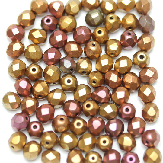 Copper Metallic Coated Czech Glass Fire Polished Faceted Round 6mm
