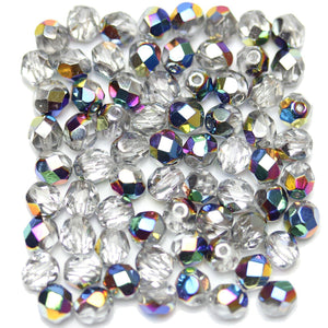 Rainbow Metallic Coated Crystal Czech Glass Fire Polished Faceted Round 6mm