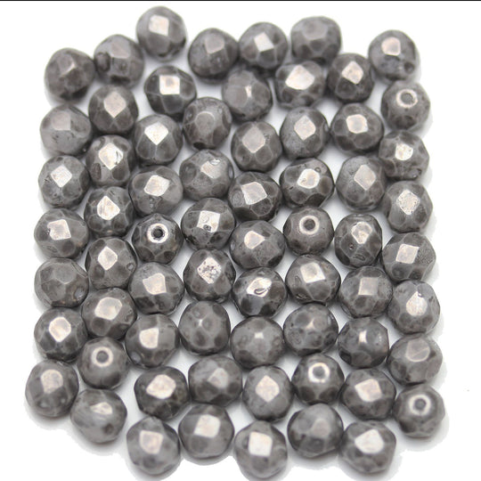 Silver Picasso Coated Czech Glass Fire Polished Faceted Round 6mm Beads by Halcraft Collection