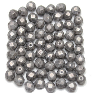 Silver Picasso Coated Czech Glass Fire Polished Faceted Round 6mm