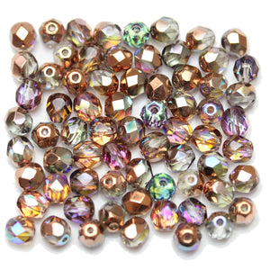 Crystal/Rose Gold Coated Czech Glass Fire Polished Faceted Round 6mm