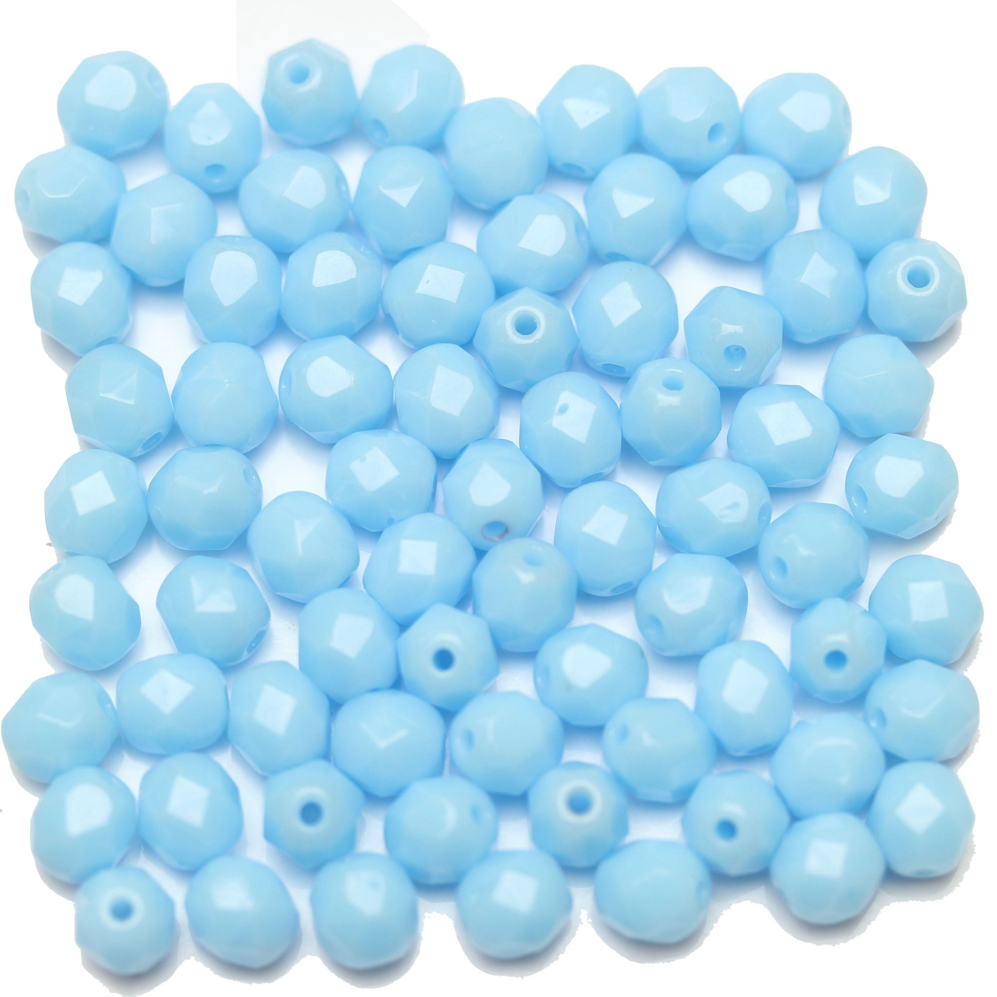 25 x Glass Pearl Beads 10mm Round Pale Blue