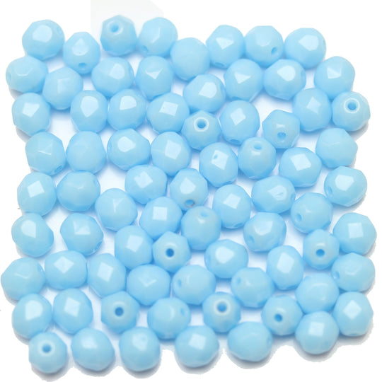 Light Blue Opaque Czech Glass Fire Polished Faceted Round 6mm
