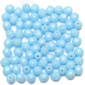 Light Blue Opaque Czech Glass Fire Polished Faceted Round 6mm Beads by Halcraft Collection