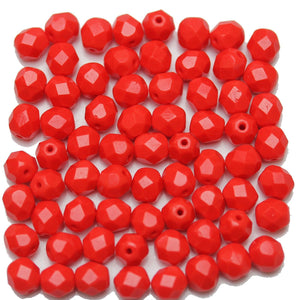 Light Red Opaque Czech Glass Fire Polished Faceted Round 6mm