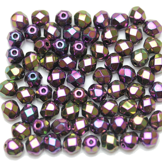 Purple Iris Coated Czech Glass Fire Polished Faceted Round 6mm
