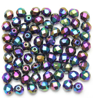 Beads, Bead, Glass, Glass Beads, Glass Bead, Faceted, Fire Polished, Fire Polished Bead, Fire Polished Beads, Round, Round Beads, Round Bead, Czech, Czech Bead, Czech Beads, Iris, Coated, Black, 6mm
