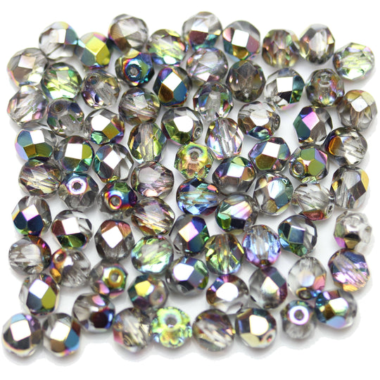 Beads, Bead, Glass, Glass Beads, Glass Bead, Faceted, Fire Polished, Fire Polished Bead, Fire Polished Beads, Round, Round Beads, Round Bead, Czech, Czech Bead, Czech Beads, Iris, Coated, Crystal, Green, 6mm