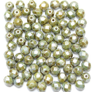 Travertine Light Green Coated Czech Glass Fire Polished Faceted Round 6mm