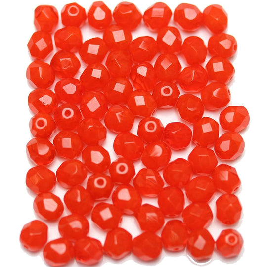Orange Opal Czech Glass Fire Polished Faceted Round 6mm Beads by Halcraft Collection