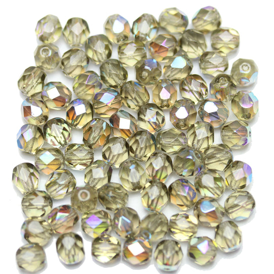 Light Olivine AB Transparent Czech Glass Fire Polished Faceted Round 6mm Beads by Halcraft Collection