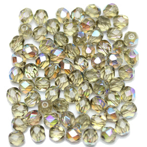 Light Olivine AB Transparent Czech Glass Fire Polished Faceted Round 6mm